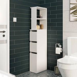 Hochschrank Ezekiel Badezimmerschrank Schrank Regal Badezimmer Badmöbel Weiß M24