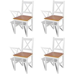 Tidyard 4er Set Stühle Holzstuhl Esszimmerstuhl Küchenstuhl mit Holz Küchenstühle in Weiß + Naturfarbe für Küche und Esszimmer, 41,5 x 45,5 x 85,5 cm (B x T x H)