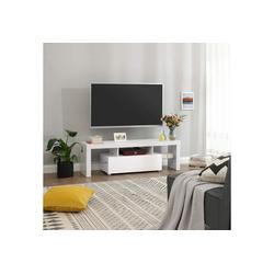VASAGLE Lowboard LTV14WT, TV-Lowboards für Fernseher bis 60 Zoll, 140 x 35 x 45 cm, glänzend, weiß