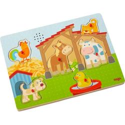 HABA 303179 - Sound-Greifpuzzle, Auf dem Land, Bauernhof, Holzpuzzle mit Tierstimmen, Kinderpuzzle