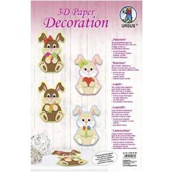 3D Paper Decoration 'Häschen' Set für 24 Deko-Häschen 6,5x9,5cm