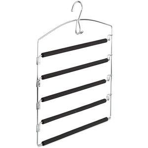 Relaxdays Hosenbügel platzsparend, Hosenkleiderbügel mehrfach, Metall, gepolstert, HBT: 44,5x37x2,7 cm, silber/schwarz