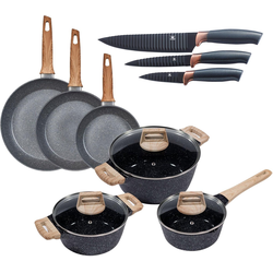 KING Topf-Set Essential, Aluminium, (Set, 12-tlg., 3 Töpfe, 3 Deckel, 3 Pfannen, 3 Küchenmesser), Induktion
