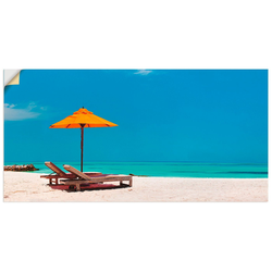 Artland Wandbild Liegestuhl Sonnenschirm Strand Malediven, Strand (1 Stück) 40 cm x 20 cm