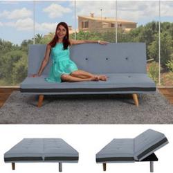 3er-Sofa Ninove, Couch Schlafsofa Gästebett Bettsofa ~ Textil, hellgrau