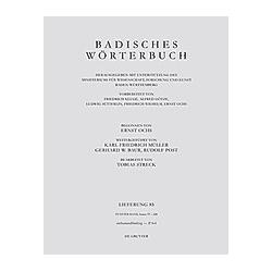 Badisches Wörterbuch: Band V/Lieferung 85 Badisches Wörterbuch. Band V/Lieferung 85 - Buch