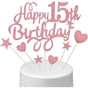 15. Geburtstagstorte Topper Set Happy 15th Birthday Kuchen Topper mit Herz Stern Cupcake Kuchen Topper Picks Glitzer Kuchen Dekoration für Geburtstag Party Kuchenzubehör, Roségold