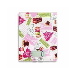 ADE Küchenwaage KE 1501 - Lilou, digitale Waage mit Paris / Macarons - Print