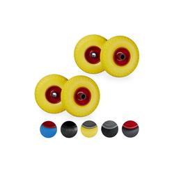 relaxdays Sackkarren-Rad 4 x Sackkarrenrad Vollgummi gelb-rot