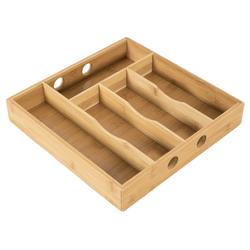 elbmöbel Besteckeinsatz Besteckkasten 5 Schublade Geschirrkasten Bambus braun 30x30x5 cm, Passt in fast alle gängigen Schubladen
