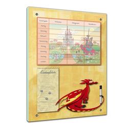 Bilderdepot24 Glasbild, Memoboard - Essensplaner für Kinder - Drache mit Ritterburg 60 cm x 80 cm