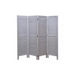 MCW Paravent MCW-G30-160, 4-teiliger Paravent, Fensterladenoptik grau