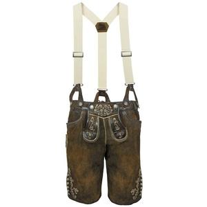 "Maddox Trachtenlederhose ""Gretel"" mit Hosenträgern - Antik Nuss, Kurze Damen Lederhose Shorts 44"