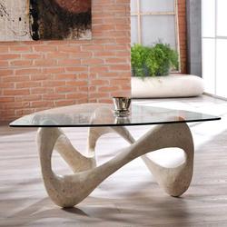 Wohnzimmer Couchtisch aus Stein und Glas Dreieckig