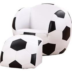 HOMCOM Kindersofa als Fußball schwarz, weiß 51,5 x 47,5 x 43 cm (LxBxH)   Kindersessel Fußballsofa Softsofa Kinderzimmer