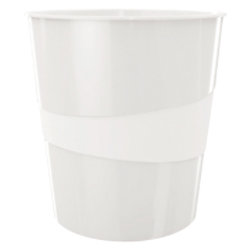 Leitz WOW Papierkorb 15 Liter Weiß 29 x 29 x 32,4 cm