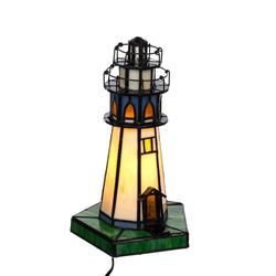 BIRENDY Stehlampe Tischlampe im Tiffany Style Leuchtturm Tiff 130 Motiv Lampe Dekorationslampe