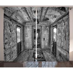 Gardine Schlafzimmer Kräuselband Vorhang mit Schlaufen und Haken, Abakuhaus, Schwarz Antike Eisenbahnwaggon