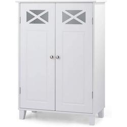 COSTWAY Badkommode Badezimmerschrank, freistehend weiß 30 cm x 87 cm x 60 cm