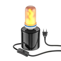 Tischlampe TIPO Porzellan rund schwarz + E27 Flammenlampe