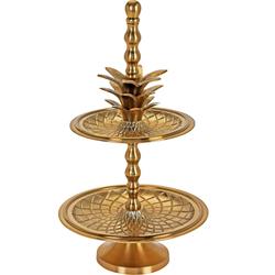 Etagere im Ananas Design in Gold - zwei Etagen - Vintage Glamour Deko 21x36 cm