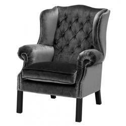 Casa Padrino Luxus Chesterfield Ohrensessel Grau / Schwarz - Sessel Möbel