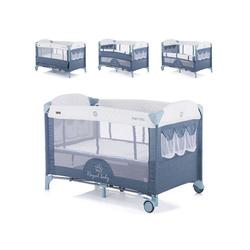 Chipolino Baby-Reisebett Reisebett Merida, Beistellbett Merida zwei Ebenen seitliche Öffnung Tasche blau