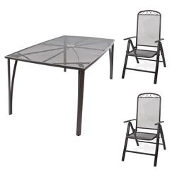 Gartenmöbel Streckmetall 1 x Tisch 150x90x72 + 2 x Stuhl Set
