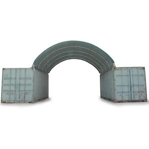 Toolport Containerüberdachung 6x6m PVC 720 g/m² dunkelgrün wasserdicht