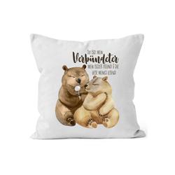MoonWorks Dekokissen Kissen-Bezug Du bist mein Verbündeter Bären Pärchen Geschenk Liebe Spruch Liebesspruch Kissen-Hülle MoonWorks®