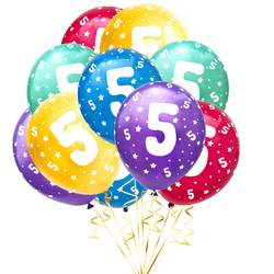 Luftballon Set Zahl 5 für 5. Geburtstag Kindergeburtstag Party 10 Deko Ballons Geburtstagsdeko bunt