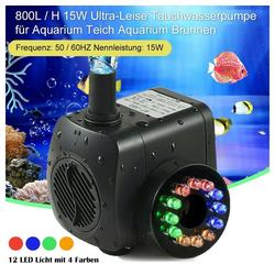 Rosnek Teichpumpe 15W Leise Aquarium Pumpe Fish Tank Sauerstoffpumpe Wasserpumpe Teichpumpe Garten (1-tlg), 800 l / h