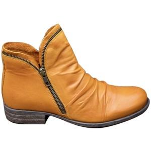 Onsoyours Damen Stiefel Mit Blockabsatz Biker Boots Herbst Winter Reißverschluss Worker Boots Winterstiefel Warm Casual Combat Boots Klassischer Stiefeletten Gelb 35 EU