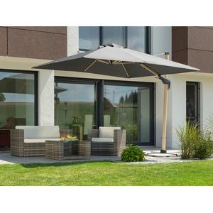 Schneider Schirme Ampelschirm Rhodos Twist Woody, LxB: 300x300 cm, Inkl. Schutzhülle mit Schirmständer, ohne Wegeplatten