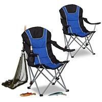 Relaxdays Campingstuhl 2er Set blau/schwarz (10022415)
