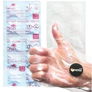 Oasis Wasserreinigungstabletten für Trinkwasser + LevinQ Handschuhe - 10 tabletten zur Wasseraufbereitung fur 20-25 Liter Trinkwasser pro Tablette, Wasserentkeimung, Water Purification