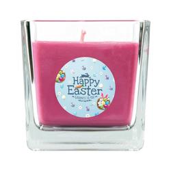 HS Candle Duftkerze (1-tlg), Frohe Ostern - Bis zu 110h Brenndauer - Kerze im Bonbon Glas, Kerze mit Motiv zur Osterzeit, vers. Düfte / Größen lila 8 cm x 8 cm x 8 cm