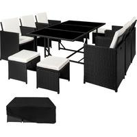 TecTake Malaga Rattan Sitzgruppe 6+4+1 mit Schutzhülle, Variante 2