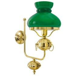 Licht-Erlebnisse Wandleuchte OLD AMERICA, Jugendstil Wandlampe aus Messing mit Gold Politur Grün Glas