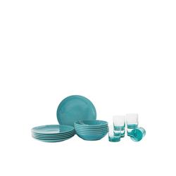 Rosenthal Geschirr-Set Mesh Colours Aqua Set 12-tlg./Teller+Glas, Porzellan blau