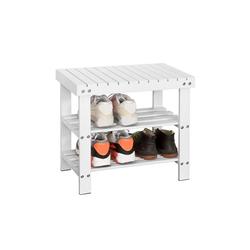 SoBuy Schuhregal FSR02-K, Sitzbank Schuhbank aus Bambus weiß 50 cm x 46 cm x 29 cm