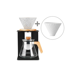 BEEM Kaffeebereiter, POUR OVER Set 4 Tassen + Extra Porzellanfillter + 10 x Spitzpapierfilter