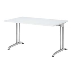 Lüllmann Schreibtisch Schreibtisch Barcelona 720 x 1200 x 800 mm C-Fuß Design (1-St), Horizontale Kabelwanne, 5 mm Nivellierfüße weiß