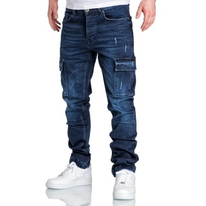 Amaci&Sons Straight-Jeans MIAMI Herren Regular Fit Cargo Denim Jeans blau W40/L30