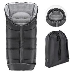 Zamboo Fußsack Schwarz, Universal Thermo Winter - Fußsack Baby für Kinderwagen und Buggy