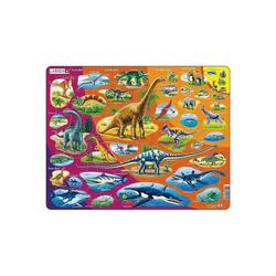 Larsen Puzzle Rahmen-Puzzle, 85 Teile, 36x28 cm, Dinosaurier, Puzzleteile