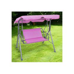 RAMROXX Hollywoodschaukel Kinder Hollywoodschaukel Gartenschaukel Outdoor Indoor 2 Sitzer Pink Rosa Silber, 2-Sitzer, 2 Sitzer mit Sonnendach