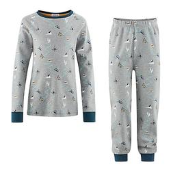 Schlafanzug Schlafanzüge Kinder grau Gr. 122/128  Kinder