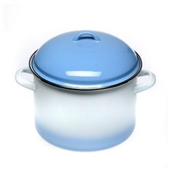 acerto® Feuertopf acerto® Emaillierter Topf mit Deckel im Set für alle Herdarten & Induktion weiß/blau 5,5 Liter
