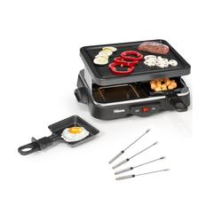 Tristar Raclette, 4 Raclettepfännchen, 500 W, Kleines Raclette Gerät für 2-4 Personen, eckiger Tischgrill mit 500 Watt, mini Raclet Camping geeignet